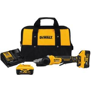 20-Volt MAX XR Cordless Brushless 5 in. Flathead Paddle Switch Small Angle Grinder with (2) 20-Volt 6.0Ah Batteries