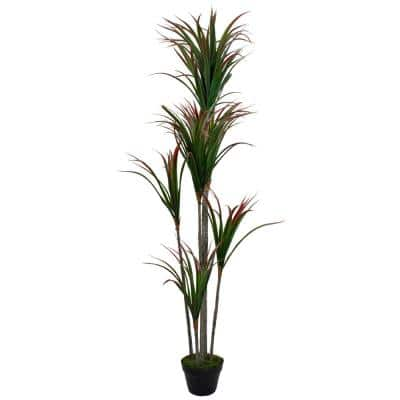 67 in. Green and Red Artificial Dracaena Marginata Potted Plant