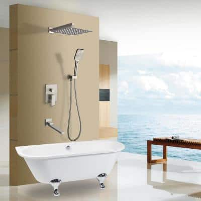 Modern Single-Handle 3-Spray Tub and Shower Faucet in Spot Resist Brushed Nickel (Valve Included)