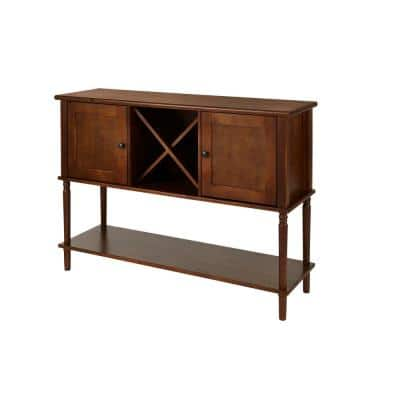 Walnut Finish Wood Buffet Table with Storage (52.26 in. W x 35.10 in. H)