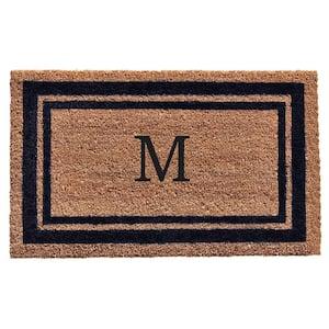 Dark Blue Border Monogram Door Mat 18 in. x 30 in. (Letter M)