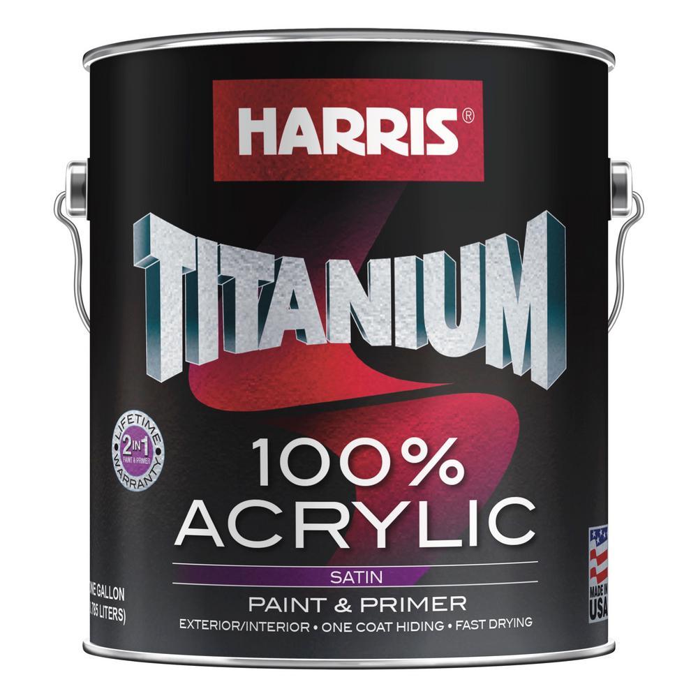 Titanium 1 gal. 100% Acrylic Satin White and Pastel Interior /Exterior Paint