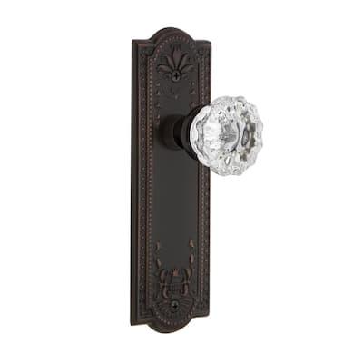 Meadows Plate 2-3/8 in. Backset Timeless Bronze Passage Hall/Closet Crystal Glass Door Knob