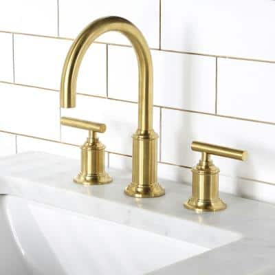 8 In. Widespread 2-Handle Modern Gooseneck Bathroom Faucet with Pop-Up Drain in Satin Gold PVD