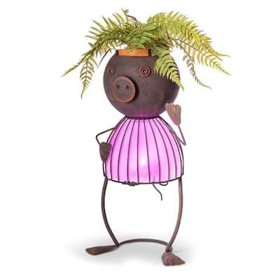 20.87 in. Metal Solar Lighted Pig Pot Head