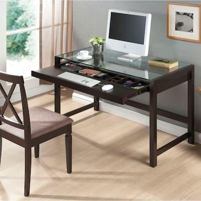 47.25 in. Dark Brown Rectangular 1 -Drawer Computer Desk with Keyboard Tray