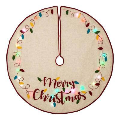 48 in. D LED Embroidered Linen Christmas Tree Skirt - Merry Christmas