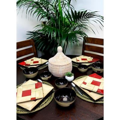 Azeal 16-Piece Casual Beige Stoneware Dinnerware Set (Service for 4)