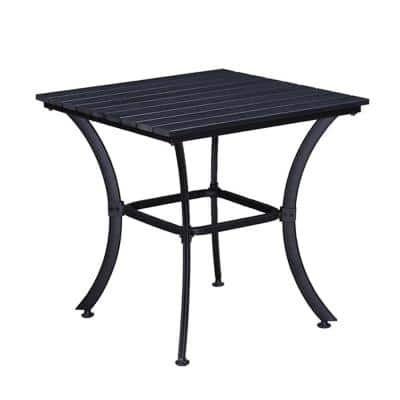 Modern Contemporary 25 in. Square Faux Wood Slatted Indoor and Outdoor Black Steel Side Table