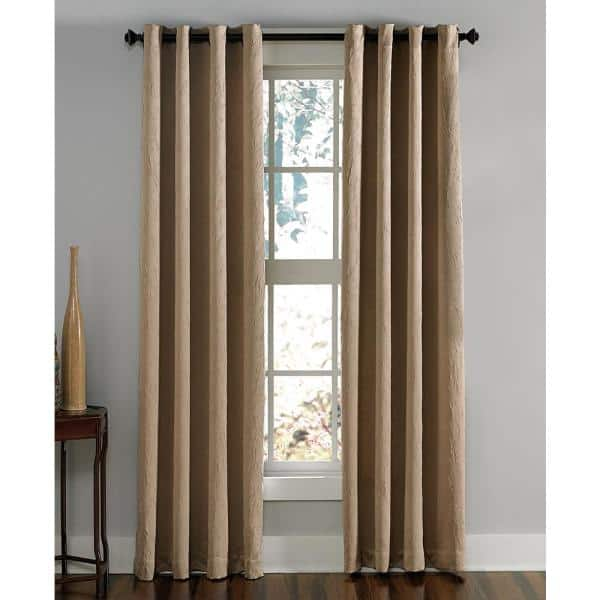 Curtainworks Lenox Room Darkening 50 In W X 108 In L Grommet Curtain Panel In Taupe 1q806308tp The Home Depot
