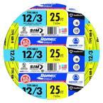 25 ft. 12/3 Solid Romex SIMpull CU NM-B W/G Wire