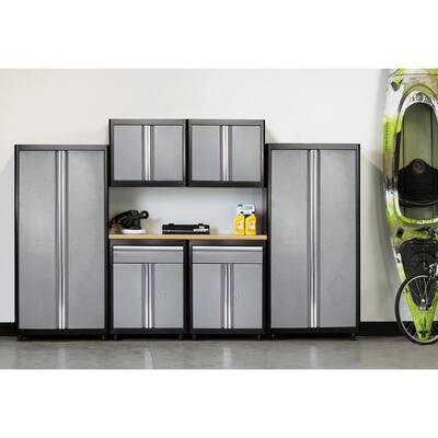7-Piece Steel Garage Storage System in Black/Multi-Granite (132 in. W x 75 in. H x 18 in. D)