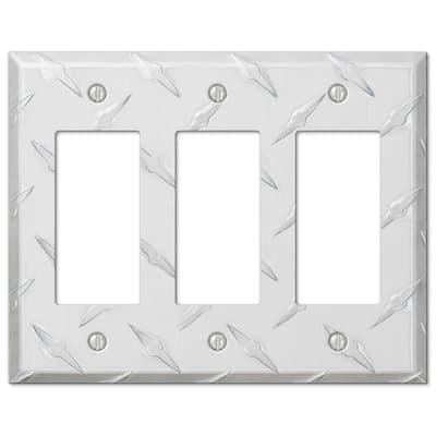 Diamond Plate 3 Gang Rocker Aluminum Wall Plate - Aluminum
