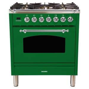 30 in. 3.0 cu. ft. Single Oven Italian Gas Range with True Convection, 5 Burners, LP Gas, Chrome Trim in Emerald Green