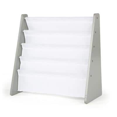 Inspire Collection Grey and White 4-Pocket Storage Book Rack