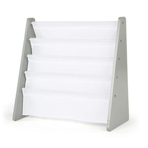 Humble Crew Inspire Collection Grey and White 4-Pocket Storage Book Rack | The Home Depot