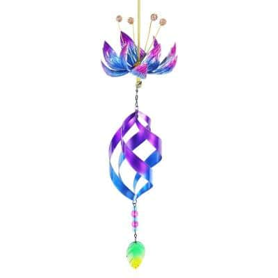 Teal Spinning Lotus Flower with Spiral and Chime Metal Spinner