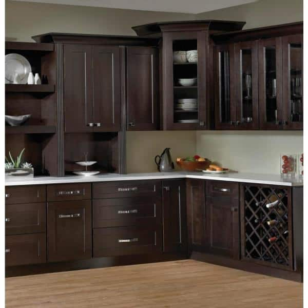 Krosswood Doors Modern Espresso Plywood Shaker Stock Ready To Assemble Wall Kitchen Cabinet With 2 Doors 36 In W X 15 In H X 12 In D Se W3615 The Home Depot