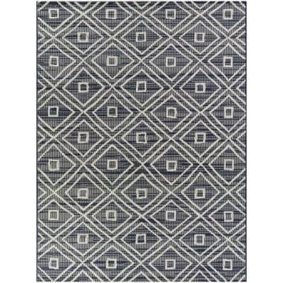 Uttara Dark Blue 2 ft. x 7 ft. Indoor/Outdoor Runner Rug