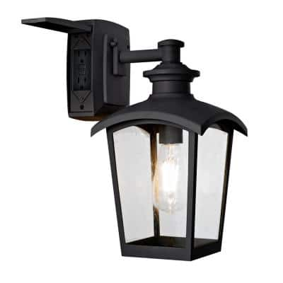 1-Light Black Outdoor Wall Coach Light Sconce with Seeded Glass and Built-In GFCI Outlets