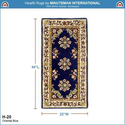 Oriental Rectangular Hearth Rug, 44 Inch Long, Blue