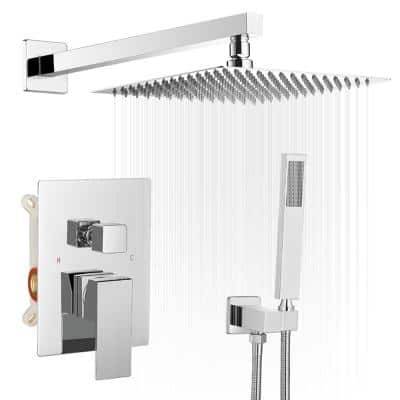 10 Inch Square Bathroom Shower Combo Set In Polished Chrome