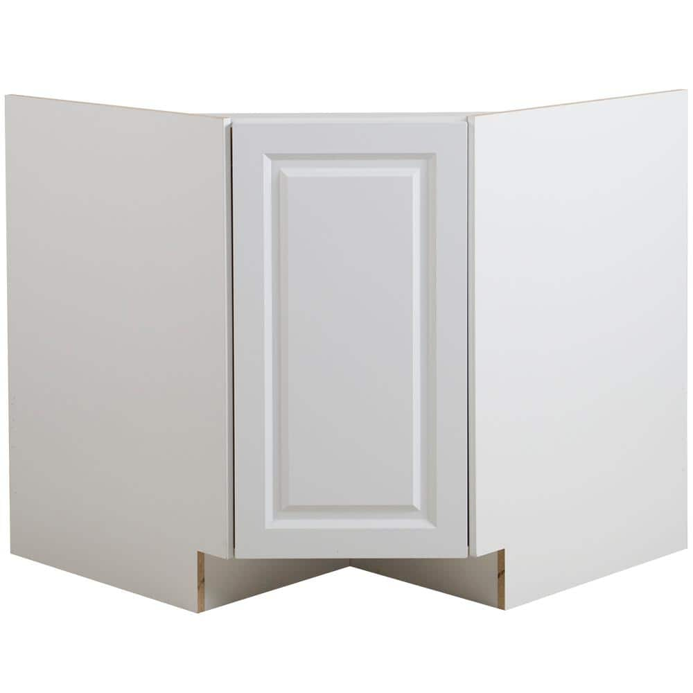 Hampton Bay Benton White Raised Panel Stock Partially Assembled Corner Sink Base Cabinet 36 In X 34 5 In X 24 5 In Bt3635c Wh The Home Depot