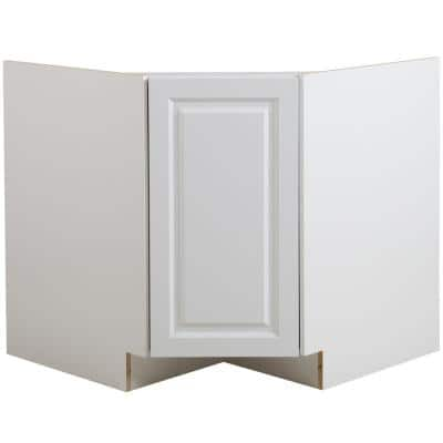 Benton White Raised Panel Stock Partially Assembled Corner Sink Base Cabinet (36 in. x 34.5 in. x 24.5 in.)