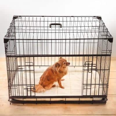 24 in. Sliding Double Door Dog Crate with Patented Corner Stabilizers, Removable Tray, Rubber Feet and Carrying Handle