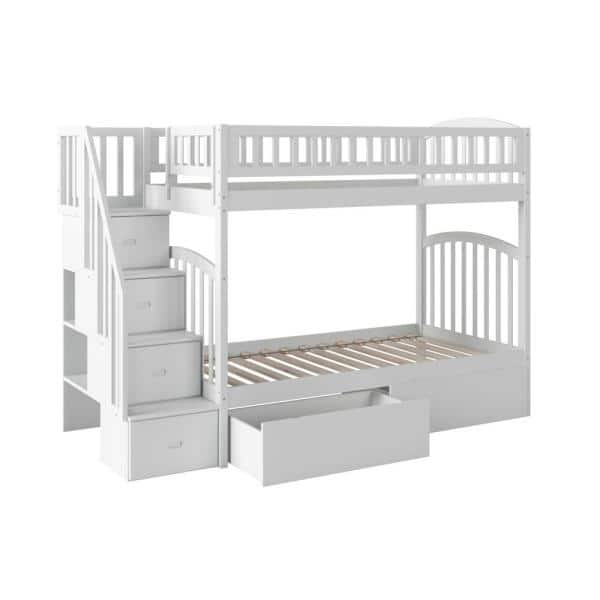 Atlantic Furniture Westbrook White Twin Over Twin Staircase Bunk with 2-Urban Bed Drawers | The Home Depot