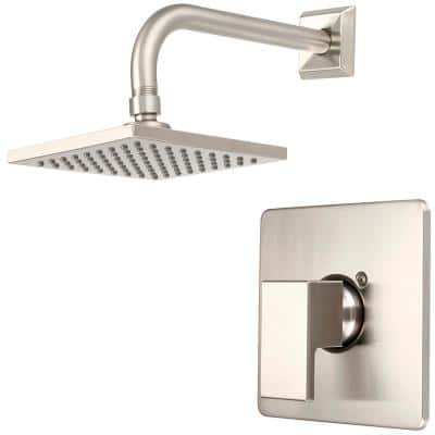 Mod 1-Handle Wall Mount Shower Faucet Trim Kit in Brushed Nickel with 6 in. Square Showerhead (Valve not Included)