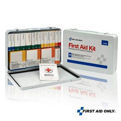 75-Person, 36 Unitized Metal Osha First Aid Case with BBP and CPR Kits