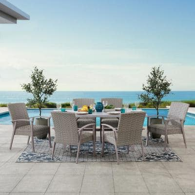 SummerCove Ralston Khaki 7-Piece Steel Patio Dining Set with Padded Wicker Seat