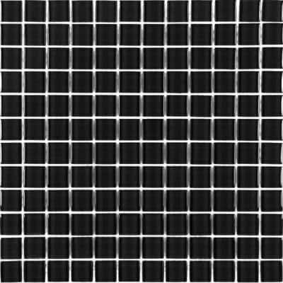 Metro Galaxy Black Square Mosaic 1 in. x 1 in. Glossy Glass Mesh Mounted Wall , Floor, & Pool Tile (0.92 Sq. ft.)
