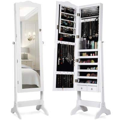 White Mirrored Freestanding Jewelry Armoire Organizer Cabinet with Drawer and Led Lights