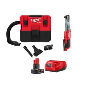 M12 FUEL 12-Volt Lithium-Ion Cordless 1.6 Gal. Wet/Dry Vacuum and 1/2 in. Ratchet with 4.0 Ah Battery and Charger