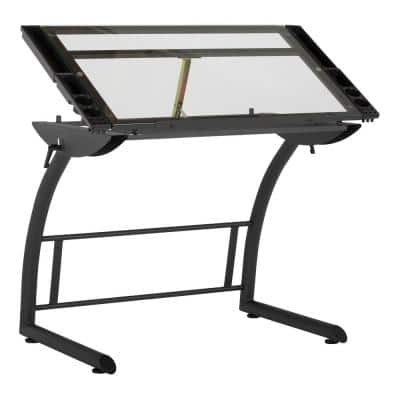 Triflex 40.75 in. W Metal and Glass Craft, Art, Drafting Table with Adjustable Height and Tilt, Sit to Stand Desk, Black