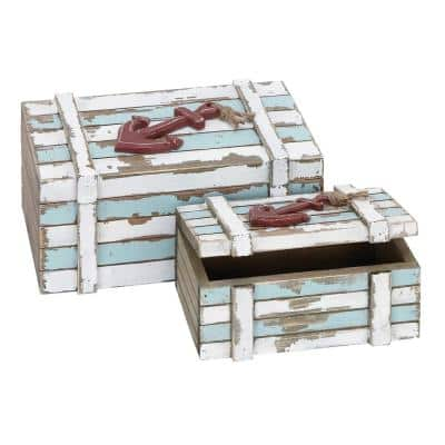 Rectangular Wooden Boxes with Lid (Set of 2)