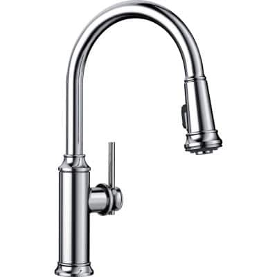 EMPRESSA Single-Handle Pull-Down Sprayer Kitchen Faucet in Polished Chrome