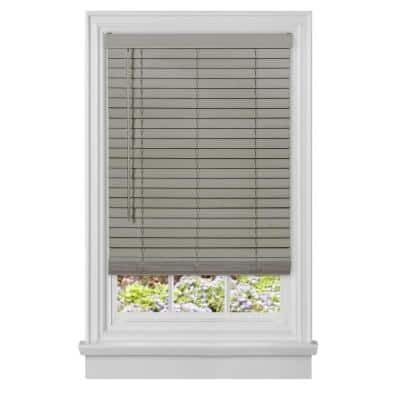 GII Madera Falsa Grey Cordless Room Darkening Faux Wood Blind with 2 in. Slats 34 in. W x 64 in. L