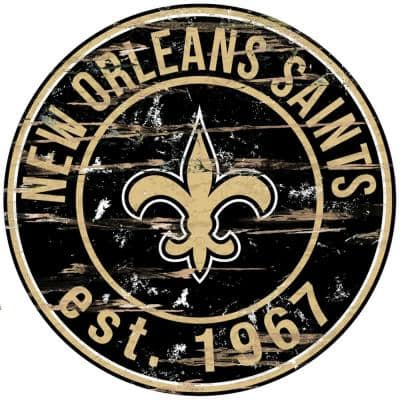 """24"""" NFL New Orleans Saints Round Distressed Sign"""