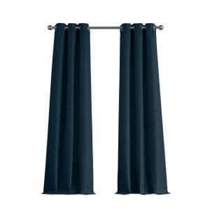 Indigo Faux Silk Grommet Room Darkening Curtain - 76 in. W x 96 in. L  (Set of 2)