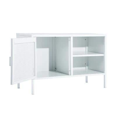 White Metal Cabinet Fashion Storage Accent Cabinet
