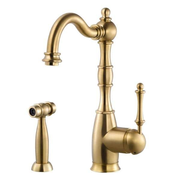 HOUZER Regal Traditional Single-Handle Standard Kitchen Faucet with Sidespray and CeraDox Technology in Brushed Brass