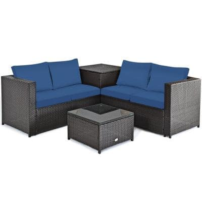 4-Piece Wicker Loveseat with Navy Cushions
