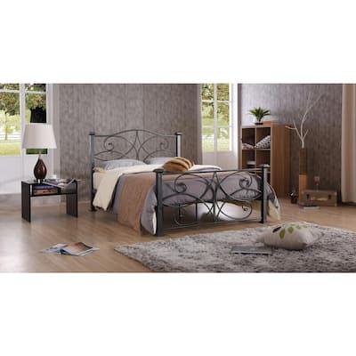 Black and Silver Full Platform Bed