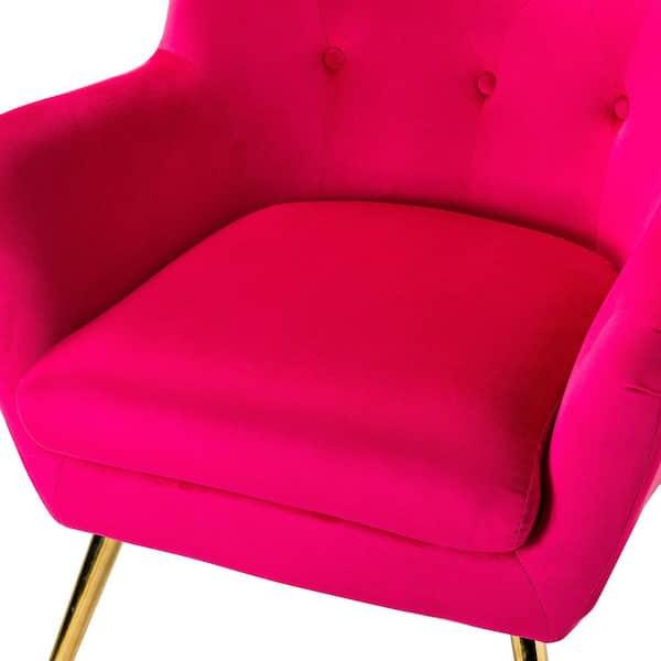Jayden Creation Jacob Golden Leg Fushia Wingback Chair With Tufted Back Set Of 2 Chdt0103 Fushia S2 The Home Depot