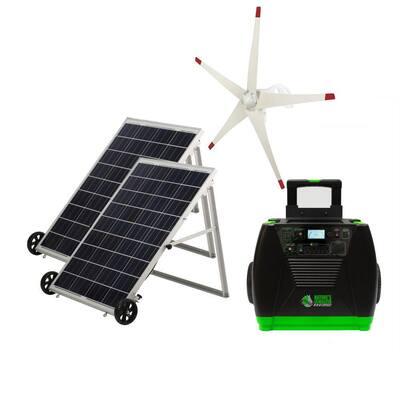 3600-Watt Solar Powered Portable Generator with 2 Solar Panels and Wind Turbine Kit