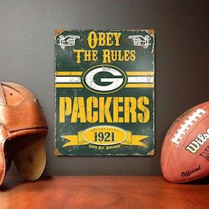 14.5 in. H x 11.5 in. D Heavy Duty Steel Green Bay Packers Embossed Metal Sign Wall Art