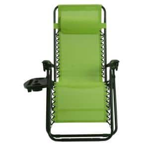 Green Metal Folding and Reclining Zero Gravity Lawn Chair with Tray